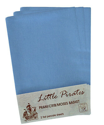 6 x Baby Pram/Crib/ Moses Basket  Flat Sheet 100% Cotton Blue
