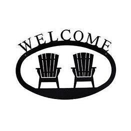 VILL-WEL119L-Village Wrought Iron WEL-119-L Adirondacks Welcome Sign