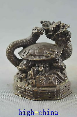 Collectable Handwork Old Copper Carve Exorcism Snake Dragon Ancient Rare Statue