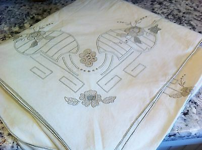 Elegant  Vintage Tablecloth 70X116 Exc Cond Cutwork Lace Embroid