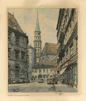 """Wien, Stalburggasse"" by Hans Figura  - Signed color etching - Austria"