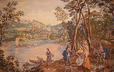 Large Woven Point De Loiselles 18th Century Influence Tapestry, 95 x 140cm