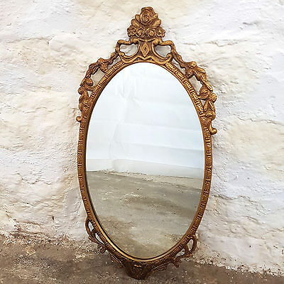 C18th Adams Style Oval Gilt Metal Framed Wall Mirror (Antique Reproduction)