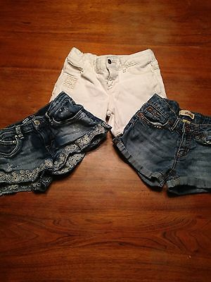 Girls denim/jean shorts lot of three. Size 10. Levi's, Old Navy and Mudd. GUC.