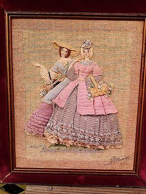antique victorian needle point crochet lady ladies 3 D framed picture signed