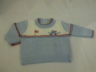 Vintage baby boy clothes light blue knit sweater racecar