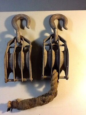 Antique Triple Block and Tackle Pulleys, LOT OF TWO