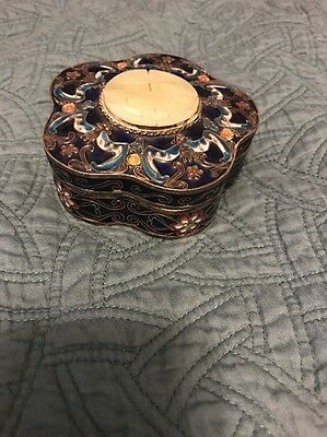 Old Chinese Enamel Decorated Covered Box With Hard Stone On Top