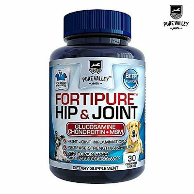 Hip and Joint Support For Dogs - Natural Glucosamine, Chondroitin, MSM + Vit C &