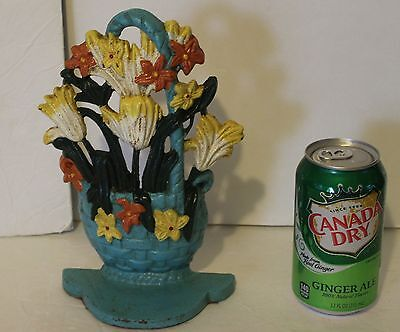Antique / Vintage Cast Iron Door Stop Painted Handled Basket of Flowers Designed