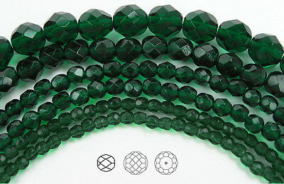 150 Preciosa Czech Glass Round Faceted Fire Polished Beads 8mm Medium Emerald