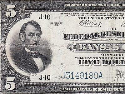 "*RARE* 1918 $5 ""Lincoln at Left"" Kansas City FRBN Note! FREE SHIPPING! J3149180A"