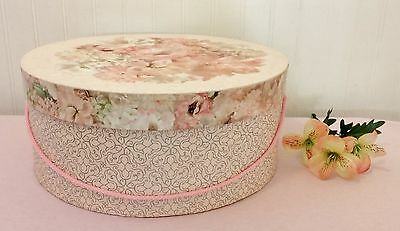 Large Shabby Chic Vintage Style Pink And Multicolored Floral Hat Box