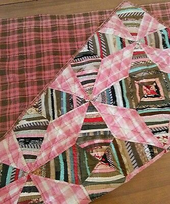 Antique Hand Sewn Crazy Quilt Handmade American Embroidery Scottish Plaid Back
