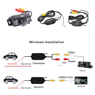 LCD Car Rear View Mirror Monitor Wireless Backup Reverse Camera Night Vision