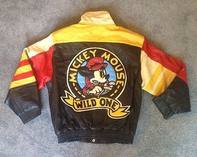 Vintage Deadstock Mickey Mouse Wild One Leather Jacket Size L 90's Jh