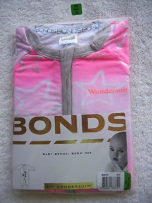 BNIP Baby Girl's Bonds Pink & Silver Stars Zip Wondersuit/Coverall Size 000