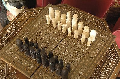Old African Chess Set Thought to be fm Uganda circa 1940's on inlaid chess board