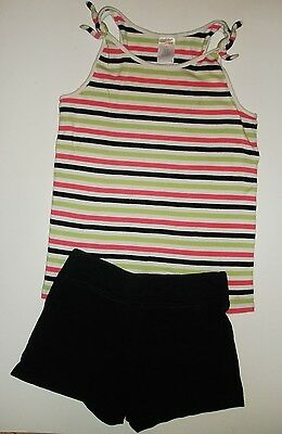 Gymboree girls striped tank top & black shorts girls outfit size 6 7 green pink