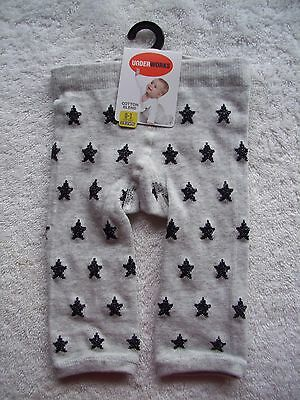 BNWT Baby Boy's/Girl's Unisex Grey & Black Stars Footless Tights/Leggings Size 0