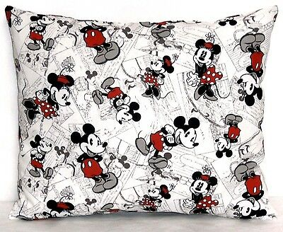 Mickey Mouse Toddler Pillow on White Cotton M8-34P New Handmade
