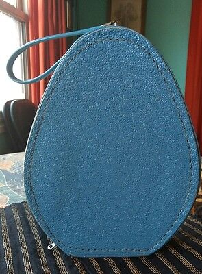 VTG Oval  HAT PILL BOX TRAIN CASE SUITCASE VINYL Blue Luggage Purse