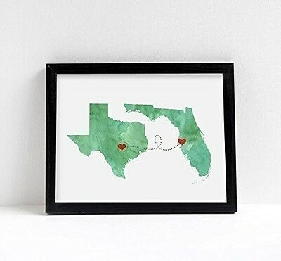 Any Two States Map Art Print Wall Decor - Unframed - WATERCOLOR series - Love We