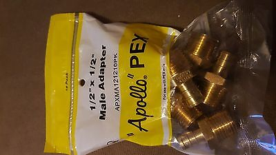 "(10) 1/2"" PEX x 1/2"" Male NPT Threaded Adapter - Original ,Apollo sealed bag"