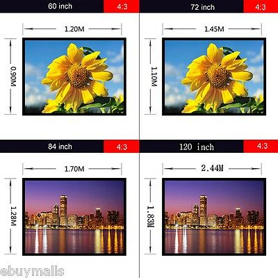 120/100/84/72 inch Projection screen 4:3  Pantalla de proyector Portable PVC ES