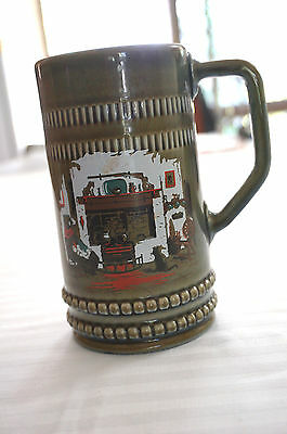 Vintage Irish potery  Mug shamrock retro beer mug, folk Arts and crafts greem
