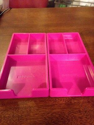 Set of 2 Poppin Hot Pink Office Organizers