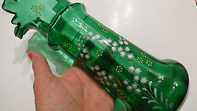 Victorian Green Glass Vase w pinched rim and applied enamel 1890-1900