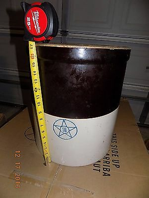 Antique vintage 10 Gallon  Blue Cobalt Star Crock Stoneware Brown/Creme