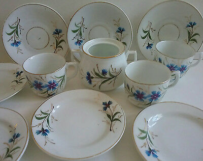 Children's Antique German Porcelain Doll Tea Set Hand Painted Blue Flowers 11pcs