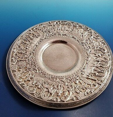Beautiful Figural Silverplate Plate w/ Scenes of Village Life Made by Derby SP
