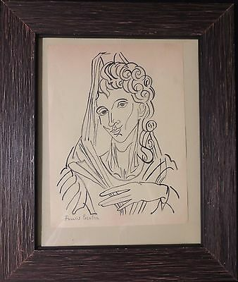 Ink drawing in style of Francis Picabia (French, 1879-1953).Portrait of a Woman