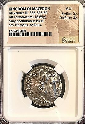 Alexander The Great Macedon Ancient Greek Silver Tetradrachm Amphipolis NGC AU