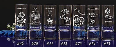 Personalised Rose theme Engraved Shot Glass Wedding favors for guests/gift