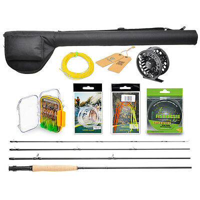 Telescopic 4 Pieces Fly Fishing Gear Rod & Reel Combo Kit Line Flies Leader Set