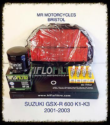 SUZUKI GSX-R 600 K1-K3 Service Kit, Air Filter, Oil Filter, Spark Plugs. SER3136