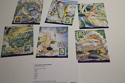 Mint 2002 Magic Rainforest Maxi Card Set Of 6 Inc Prepaid Postage International