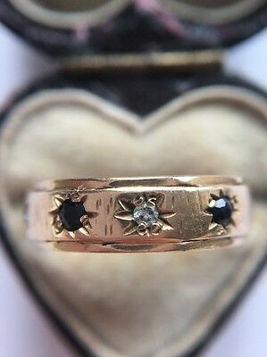 Stunning Victorian Antique Sapphire And Diamond Five Stone Yellow Gold Ring