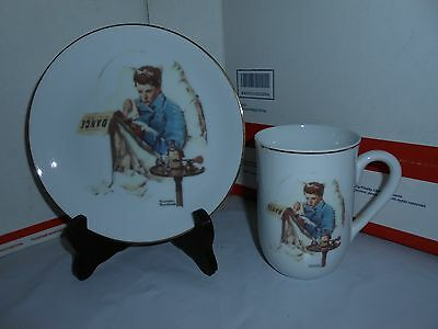 "Vtg 1986 Clay In Mind Norman Rockwell Missing The Dance Cup/mug & 6.5"" Plate"