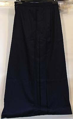 Girls School Uniform Navy Full Length Crescent Skirt Size 10 Pleated