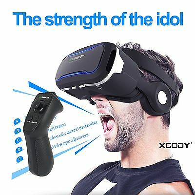 Virtual Reality VR Headset 3D Movies Games Video Glasses with Bluetooth Control