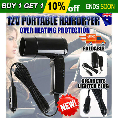Portable Hairdryer 12V Hair Dryer Dry Glass Defroster Car Caravan Camping Travel