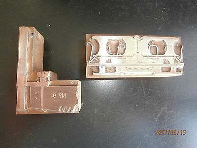 2 Letterpress Printing Blocks Vintage Cross Cut Saw And More Copper On Wood