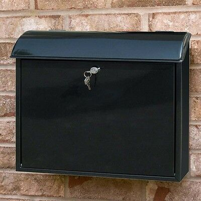 Steel Black Venice Letter Postbox  Mail Galvanized Wall Mounted Lockable Holder