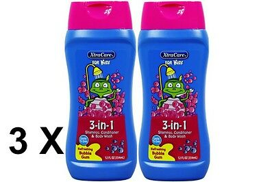 3 X XtraCare Kids Bubble Gum 3 in 1 Shampoo Conditioner & Body Wash 354ml