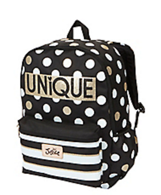 NWT JUSTICE Girls Backpack Rucksack Black and White Polka Dot UNIQUE
